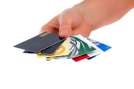 Credit card in the hands of men photo