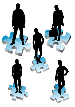 People are standing on colored pieces of 3d puzzle Stock Vector - 9318081