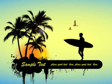 Surfista sobre fondo tropical