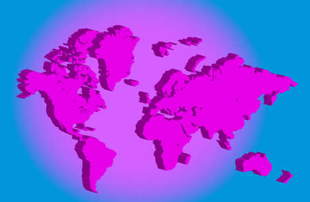 3d pink world map Stock Vector - 9415096