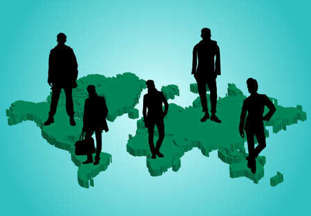 3d world map and business peoples, vector  Vector