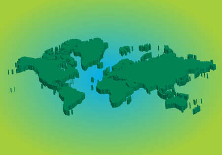 3d green world map Vector