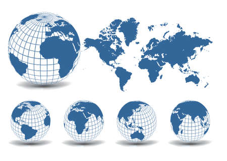 atlantic ocean: World map with Earth globes in white background (part of full set)