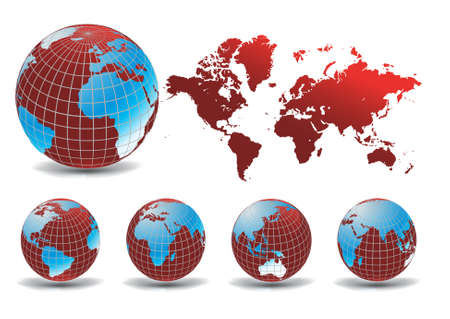 World map with Earth globes in white background (part of full set) Vector