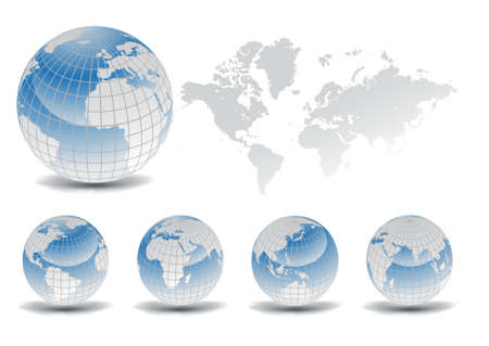 World map with Earth globes in white background (part of full set)