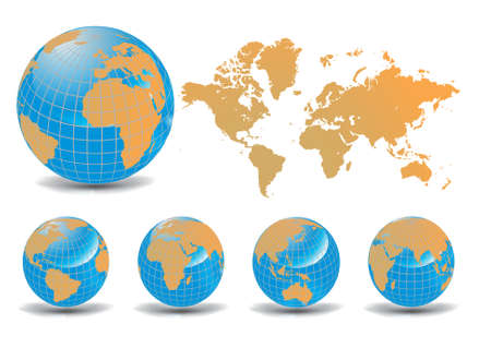 World map with Earth globes in white background (part of full set) Stock Vector - 9415107