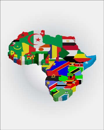 bandera cuba: mapas de esbozo 3D de los pa�ses en el continente africano