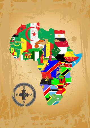 bandera cuba: Esquema de mapas de los pa�ses en el continente africano  Vectores