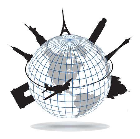 Puntos de referencia mundial, vector Ilustración de vector