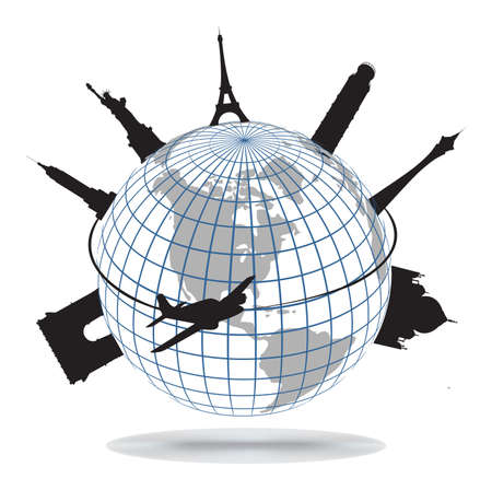 passport background: World landmarks, vector