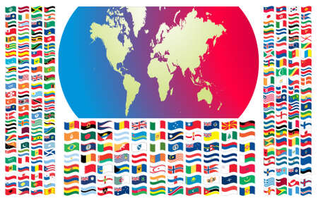 Complete set of Flags of the world with official colors and details  Illustration