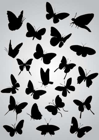 Siluetas de mariposas, vector Foto de archivo - 9414909