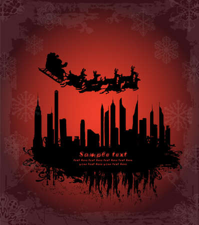 Urban holiday background with santa (full set available in my portfolio with different santa with reindeer silhouette and city skyline) Vector