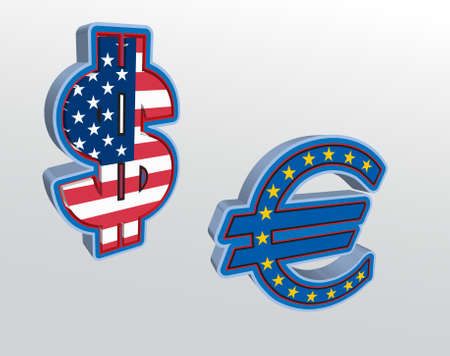 Dollar and Euro signs, illustration Vector