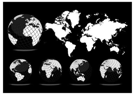 World map with Earth globes (part of full set) Stock Vector - 9428050