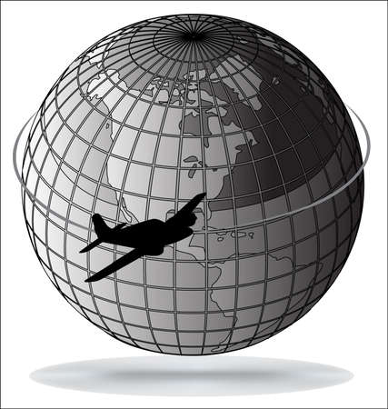 Airplane route around the world(part of full set) Stock Vector - 9433305