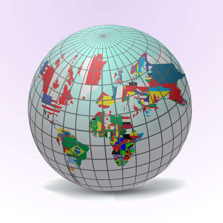 All flags in globe form, vecto illustration  イラスト・ベクター素材