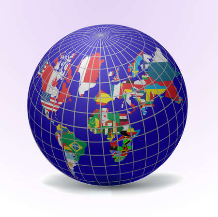 All flags in globe form, vecto illustration Stock Vector - 9686982
