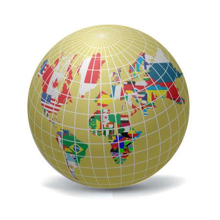 All flags in globe form, vecto illustration Stock Vector - 9686977