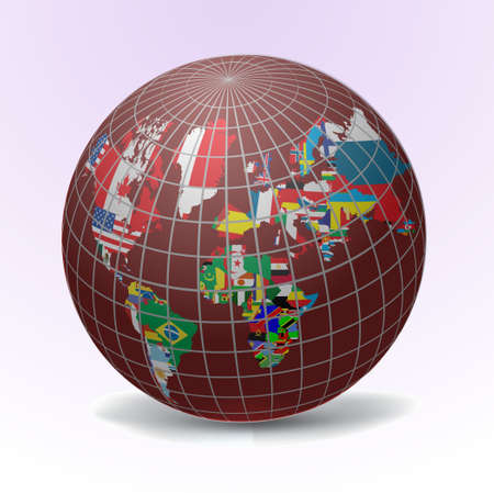 All flags in globe form, vecto illustration Vector