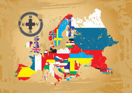 all european flags: Outline maps of the countries in European continent