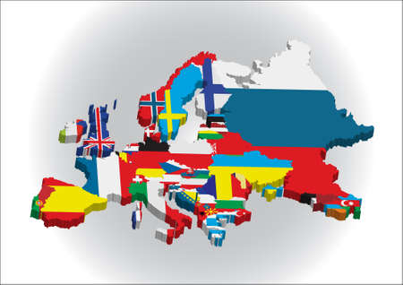 Outline maps of the countries in European continent