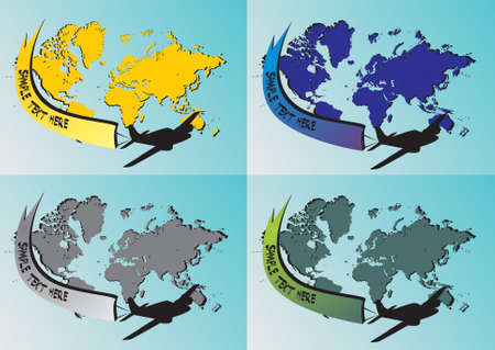 Four different colored world map with airplane Stock Vector - 9429136