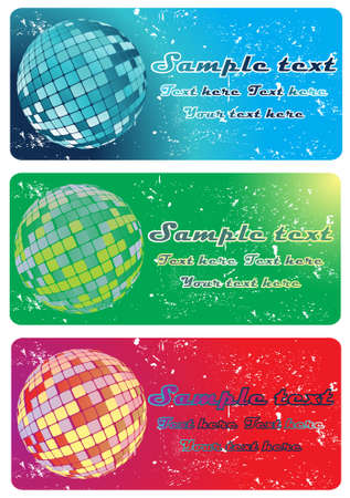 Abstract party banners with disco ball
