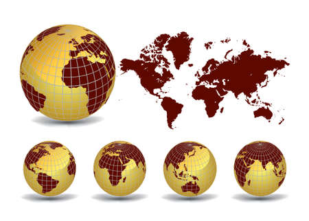 World map with Earth globes in white background (part of full set)  Stock Vector - 9429138