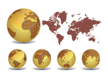 World map with Earth globes in white background (part of full set)  Stock Vector - 9428791