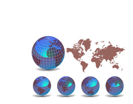 World map with Earth globes in white background (part of full set) Stock Vector - 9428955