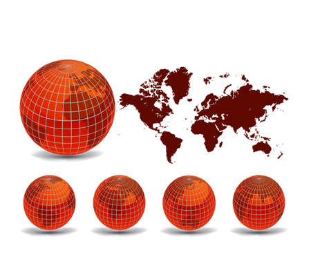 World map with Earth globes in white background (part of full set)  Stock Vector - 9428958