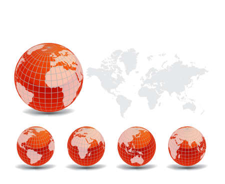 World map with Earth globes in white background (part of full set)  Stock Vector - 9428957