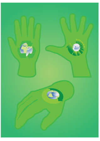 Human hands with recycle simbols Stock Vector - 9433358