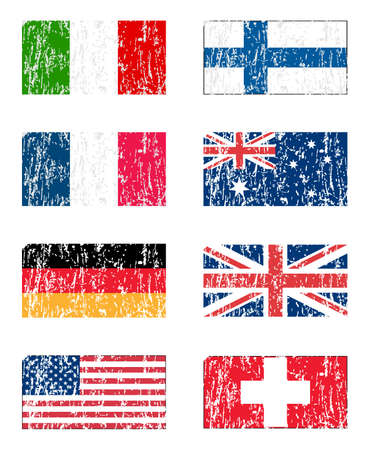 Grunge flag set Vector