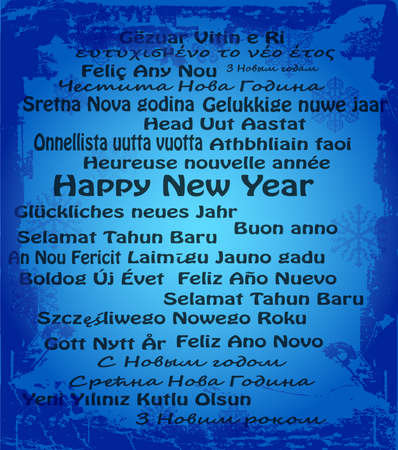 Happy New Year in thirty language Vector