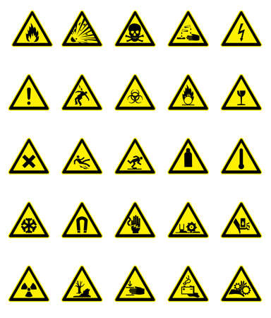 flammable warning: Hazard signs set