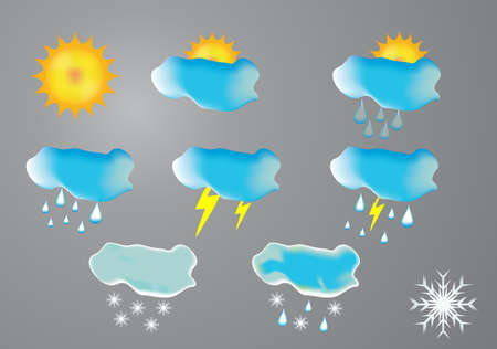 High quality icon set relating to weather Vector