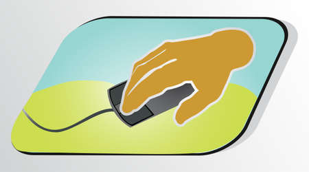 Human hand with pc mouse Stock Vector - 9433252