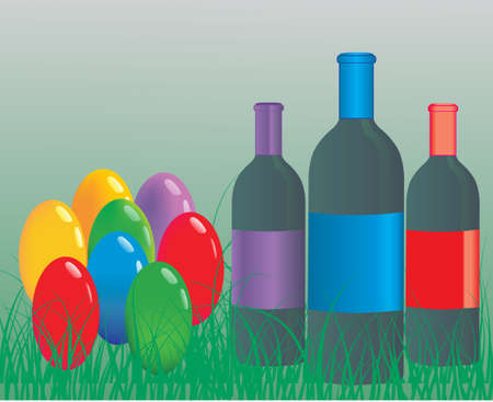 Easter eggs with wine bottle Vector