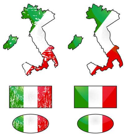 Italian flag and map Vector