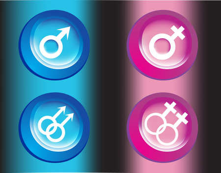 Male and female symbols , vector illustrations Stock Photo - 9432145