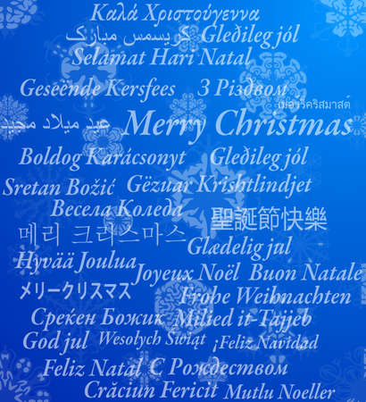 Merry Christmas in thirty-one language, vector illustration