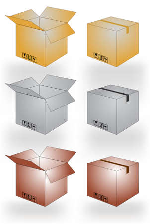 post office: Cardboard boxes, open and closed