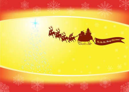 santa in his sleigh with his reindeer Stock Vector - 9427742