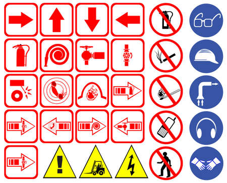 flammable warning: Safety signs set