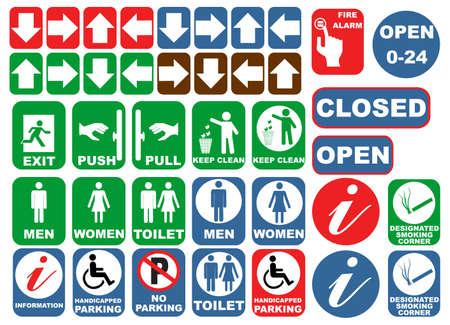 electrical safety: Safety signs set, Illustration