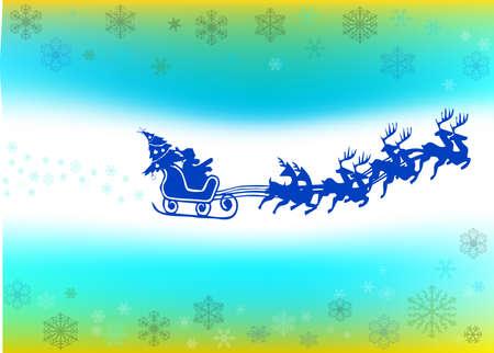santa in his sleigh with his reindeer Vector