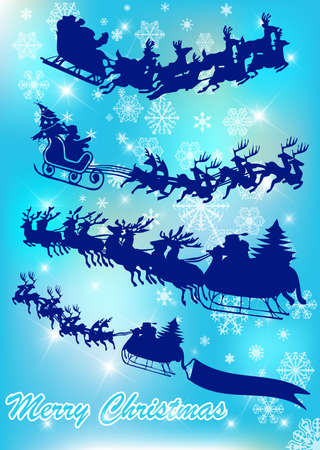 santa in his sleigh with his reindeer Stock Vector - 9428985