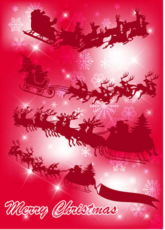 santa in his sleigh with his reindeer Stock Vector - 9428986